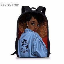 ELVISWORDS African Black Girls Hairstyle Schoolbag for Stylish Unique School Students Bag Lightweight Women Laptop Bags