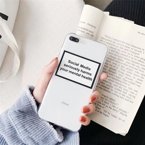 Social Media seriously harms your mental health Soft Silicone Phone Case For iphone 7 8 Plus 6 6s X XS Transparent Cover Case Pakistan