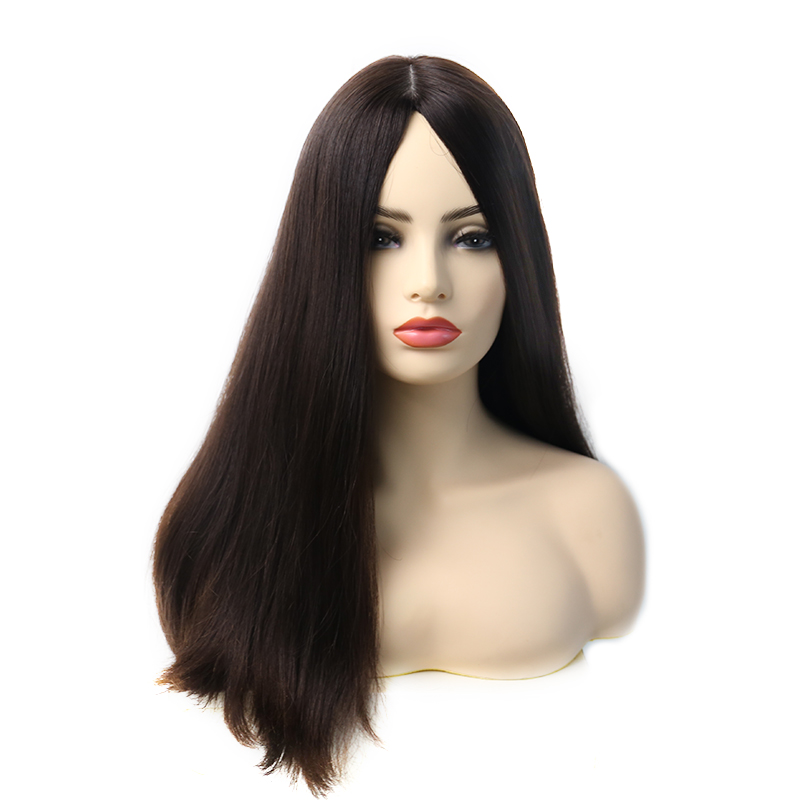 4x4 Silk Base 150% Density Jewish Wig 100% Unprocessed European Remy Human Hair Kosher Wig Natural #4 Straight Style Medium Cap