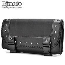 Bjmoto Motorcycle PU Leather Saddle Side Back Tail Pouch Tool Bag moto motocross Black Luggage Storage