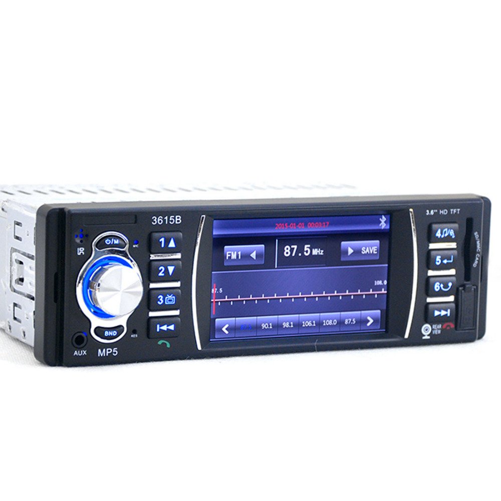 12V  3.6 inch TFT Screen 3615B Car Radio Bluetooth Audio Stereo MP4 MP5 Player Support Rear Camera Video FM USB / SD / MMC 12V
