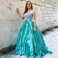 YNQNFS PD44 Chic Sweetheart Ball Gown Princess Crystal Prom Dresses Aqua Green 2018