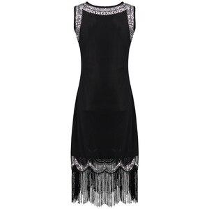 Image 3 - Vestido pequeño negro elástico Midi para mujer, Vestido Vintage con cuentas y flecos, Vestido de aleta de lentejuelas, Túnica Gatsby 1920s