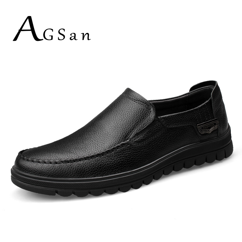AGSan genuine leather shoes mens business shoes black brown men office formal shoes big size 10.5 10 9.5 46 45 slip on flats top quality crocodile grain black oxfords mens dress shoes genuine leather business shoes mens formal wedding shoes