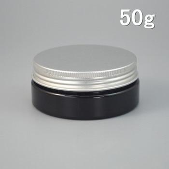 60pcs/lot 50g Black Plastic Cosmetic Bottle Aluminum Cap Refillable Lip Container PET Hair Wax Jar 50ml 2017 Style #AB51