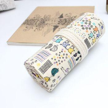 Bolso de tela de algodón blanco para cortina de lápiz 36/46/72 agujeros con forma de pluma tortuga Animal 1112-3