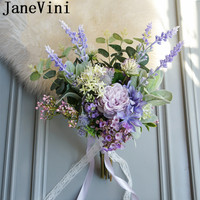 JaneVini Lavender Purple Wedding Bouquets Bridal Single sided Bouquet Bridesmaids French Style Bride Flowers Brooch Trouw Boeket