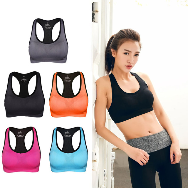 0ce5939993 Shockproof Sports Bra women Stretch Push Up Padded Fitness Vest Breathable  Seamless Underwear Yoga Running Brassiere sport Tops