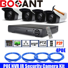 4ch 1080P HD Realtime POE network Video Recorder camera kit with waterproof 1080P bullet HD POE IP camera kit