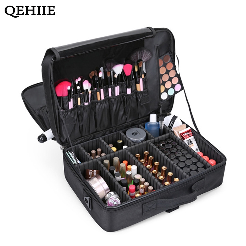 Cosmetic-Bag Suitcase Makeup-Organizer Professional Large-Capacity Brand Bolso Multilayer