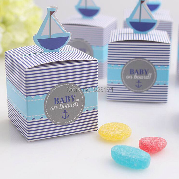 Free Shipping 50pcs Baby Shower Decorations baby on board Candy Box Chocolate Box Baby Shower Favors and Gifts ...
