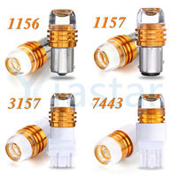 Yiastar 100XCar Strobe Flash Light 1156/1157/7443/3157 LED Car Auto Brake Stop Bulb Reverse Lamp Yellow /Red/White/ 5W