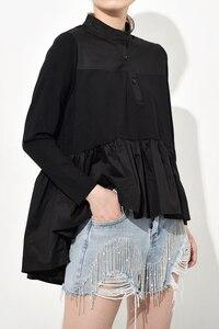 Image 2 - [EAM] blusa larga holgado y plisado con cuello levantado para primavera y otoño, Camisa larga asimétrico con Espalda descubierta, 2020
