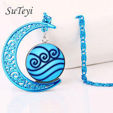 SUTEYI  Fashion Blue Color Moon Necklace Avatar The Last Airbender Statement Necklace Legend Of Korra Tribe Crystal Pendant