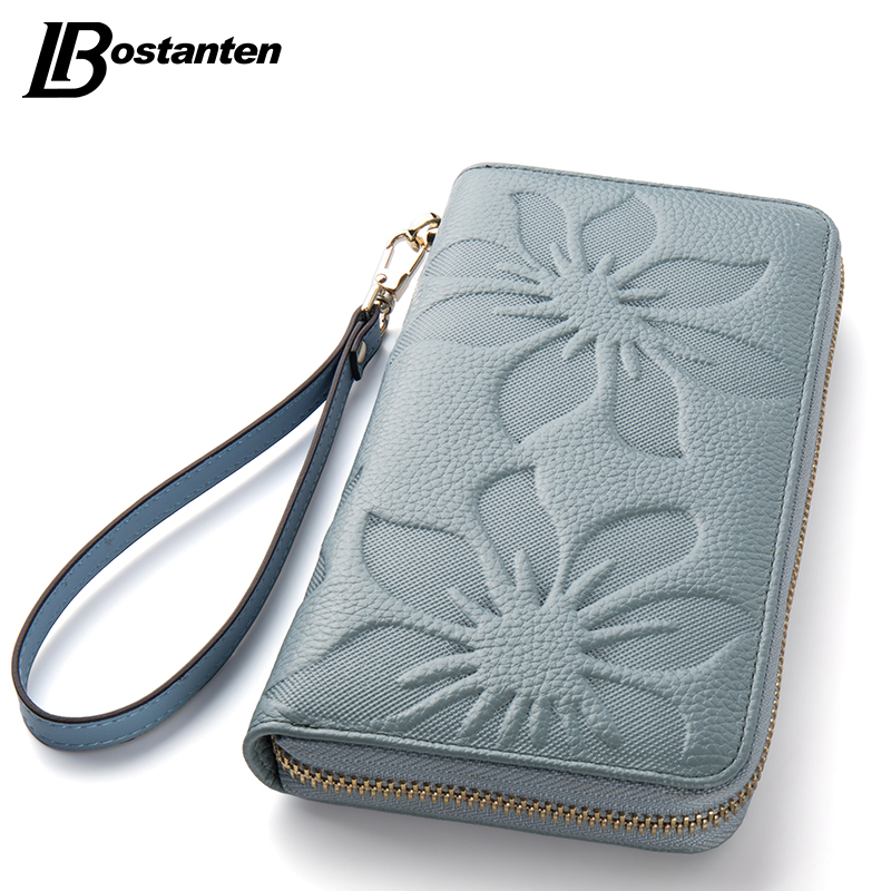 BOSTANTEN Flower Cowhide Leather Wallets Long Genuine Leather Woman Wallets Designer Brand Luxury Wallets With Coin Purse Clutch bvp luxury brand weave plain top grain cowhide leather designer daily men long wallets purse money organizer j50