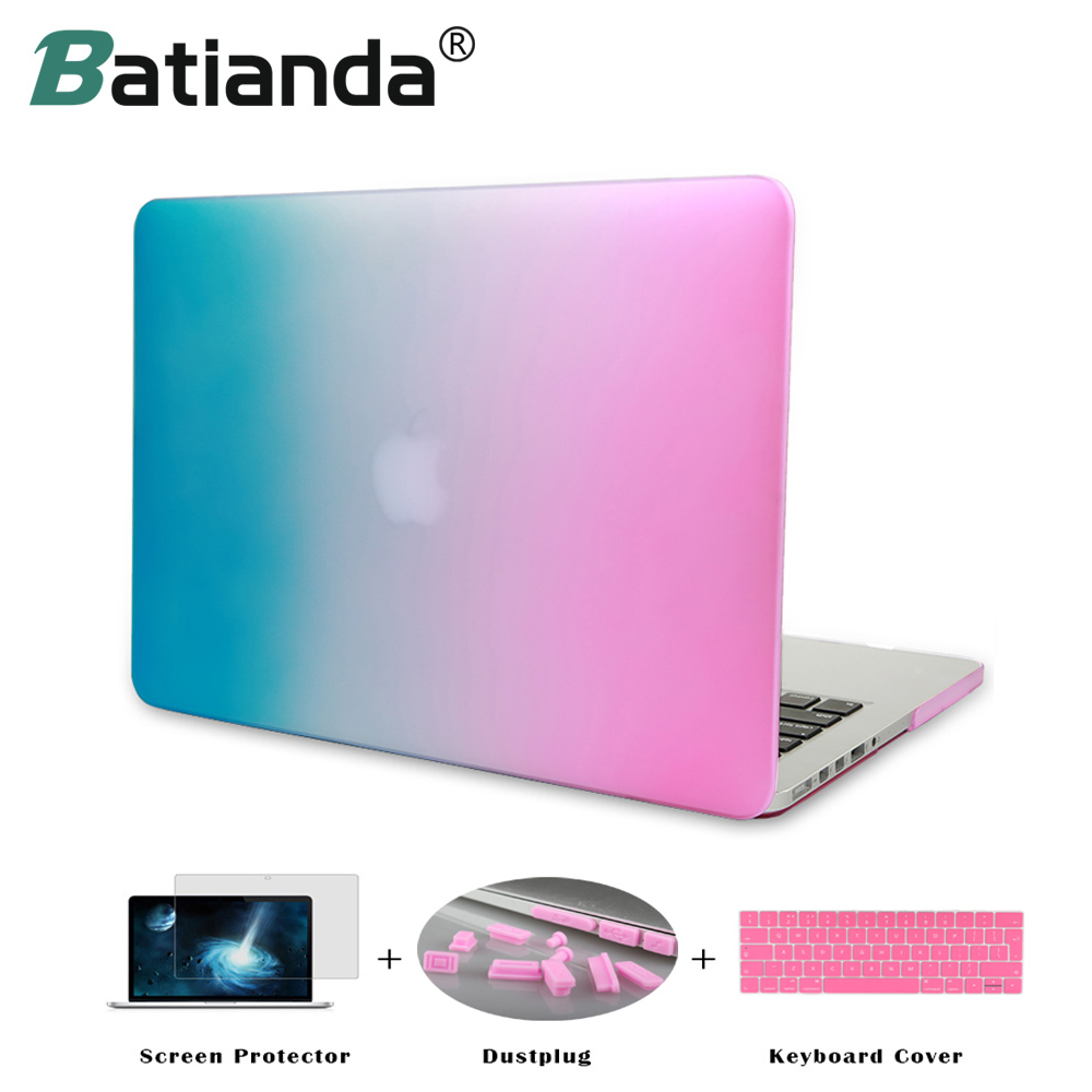 Rainbow Gradient Matte Hard Sleeve Case Cover for MacBook Air 11 13 Pro 13 15 Retina Display Touch Bar New 12 inch