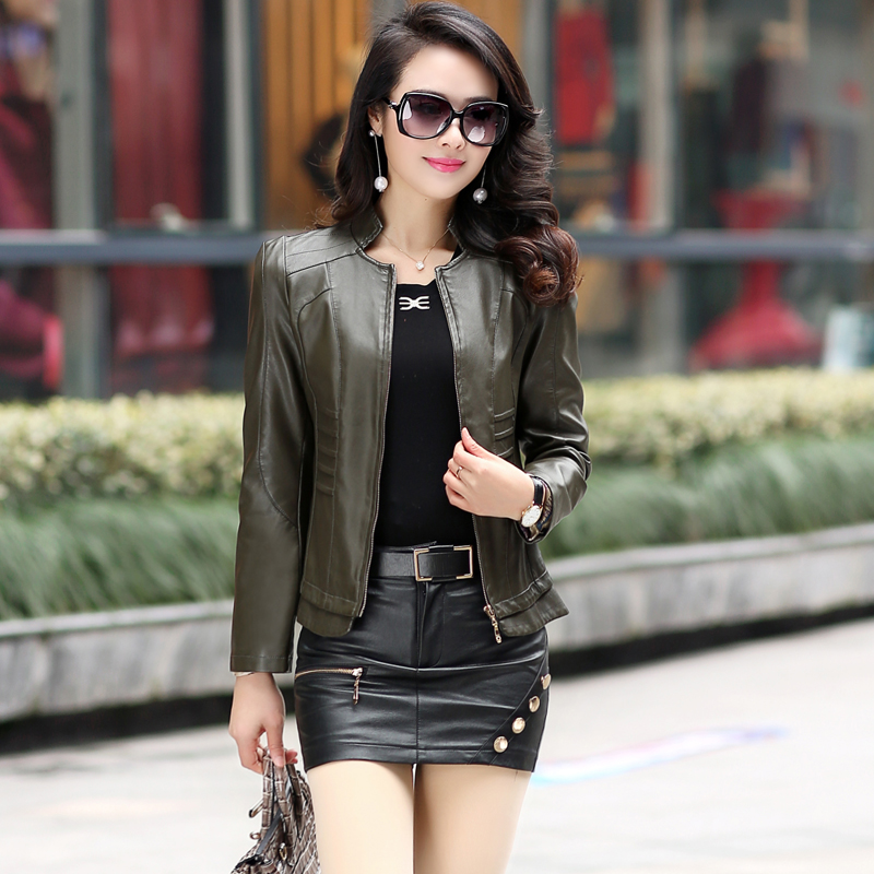 Autumn Leather Jacket Womens Outerwear Jacket And Coat Ladies Leather Clothing Female Motorcycle Leather Jacket Plus Size 5XL