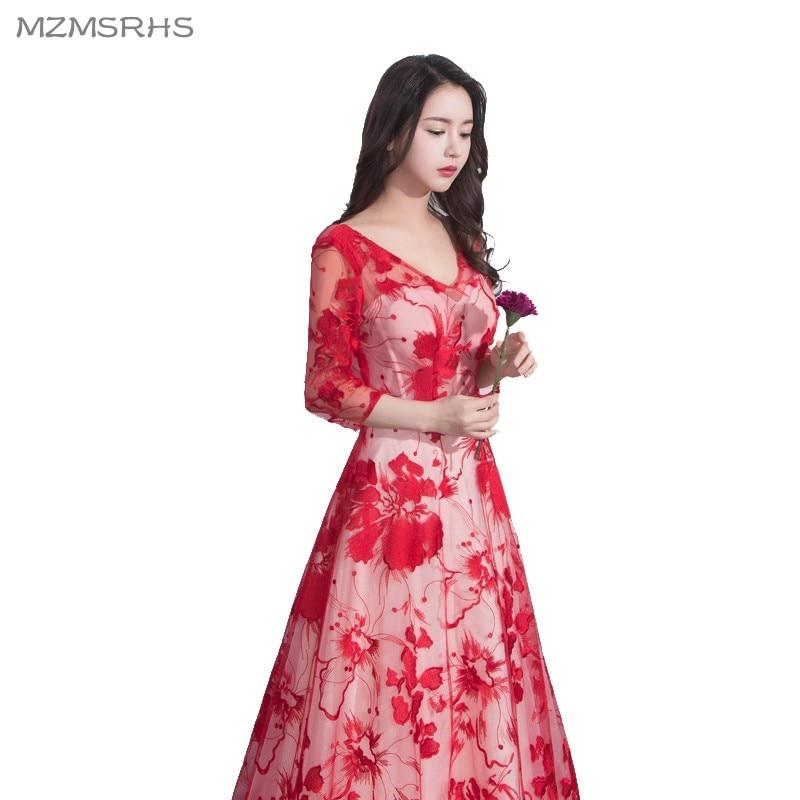 Vestidos de fiesta largos de encaje rojo de lujo MZMSRHS 2018 Vestido - Vestidos para ocasiones especiales - foto 5