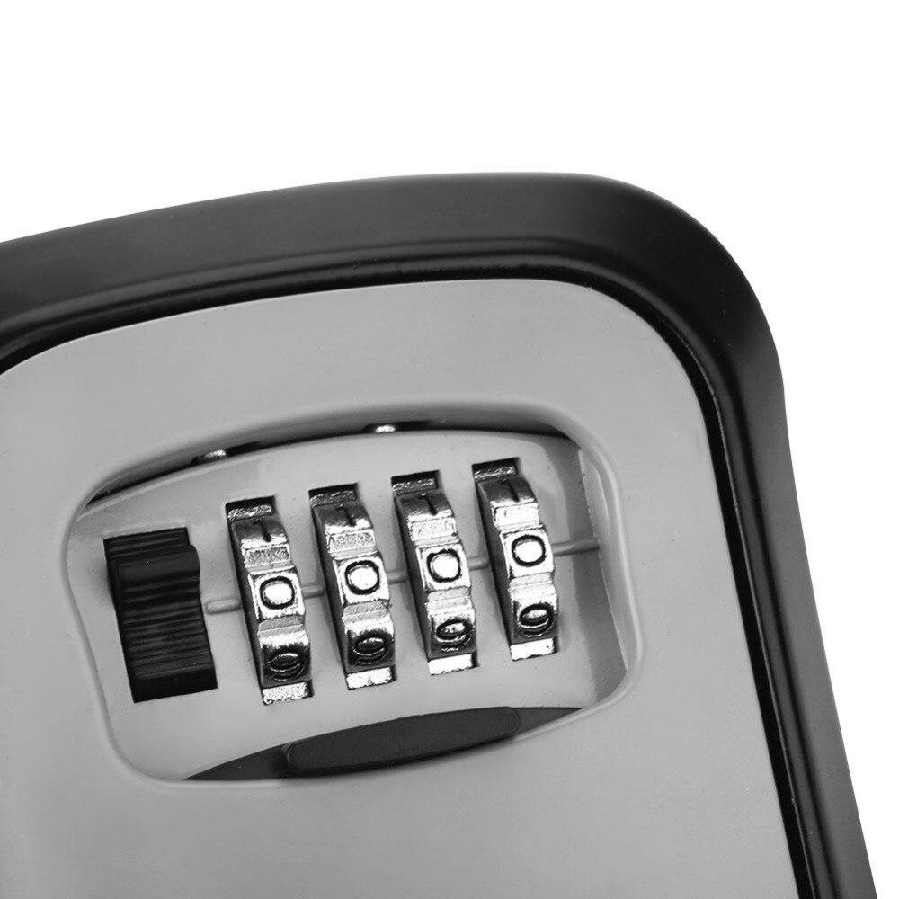 Купить с кэшбэком Key Lock Box Wall Mounted Aluminum alloy Key Safe Box Weatherproof 4 Digit Combination Key Storage Lock Box Indoor Outdoor