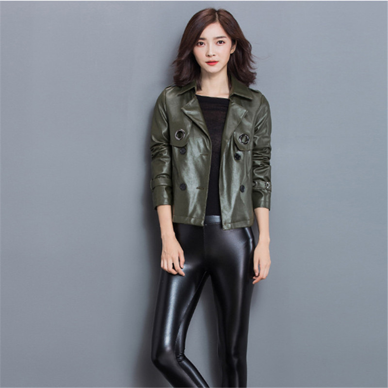 Coats Women Jacket Size Army Green Leather Style Motor Bomber Jaqueta Pu Plus Feminina Korean Short 1nq1t4x7