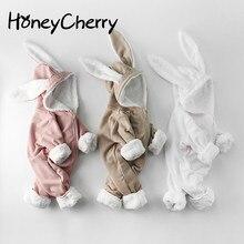 Зимний комбинезон для маленьких девочек; Одежда с длинными рукавами для малышей и с заячьими ушками; Одежда для новорожденных мальчиков