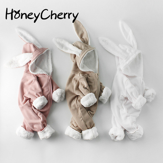 Winter Baby Girl Romper Long sleeved Clothes For Baby And Rabbit Ears Newborn Baby Boy Clothes