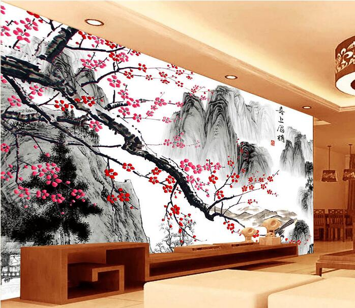 3d room wallpaper custom mural non-woven wall sticker 3d Chinese red plum flower ink painting  photo wallpaper for walls 3d 3d room wallpaper custom mural non woven wall sticker 3 d fantasy green vine of roses painting photo wallpaper for walls 3d