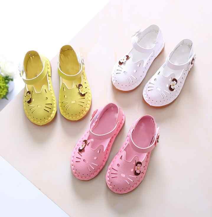 אביב קיץ ילדים אופנה חוף סנדלי אופנה 2018 ילדי חלול החוצה לנשימה קריקטורה נעלי בנות נוגד החלקה חמוד נעליים
