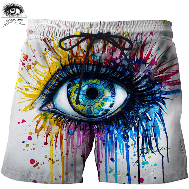 Rainbow eye By Pixie cold art Eye Printed Beach   Shorts   Masculino Men Pant Funny   Board     Shorts   Quick Dry Pant Anime   Short   Plage