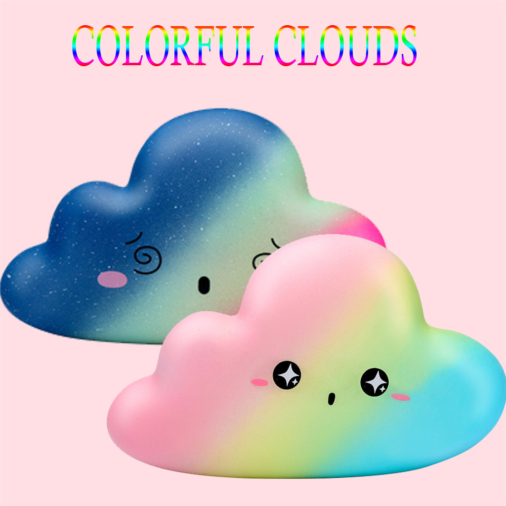 2019 New Fashion Kawaii Coloful Cloud Slow Rising Doll Lovely Soft Squeeze Toy Stress Relief Toy For Kids Gift Exquisite