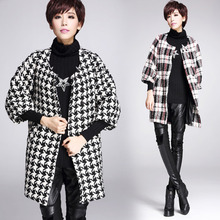 2015 winter new retro Vintage Tartan Pattern Contrast Color Modern Houndstooth Pattern 3 4 Sleeve loose