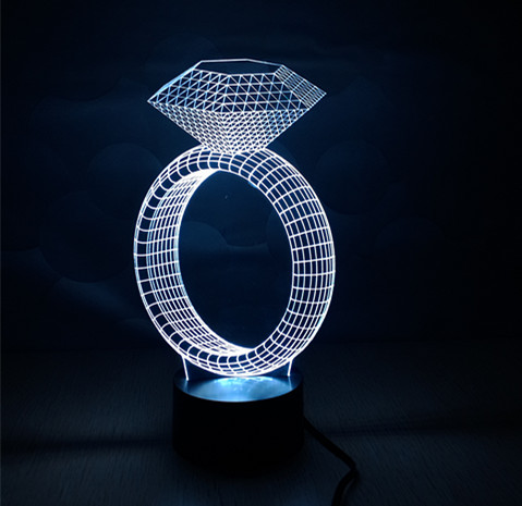 2016 Latest Christmas Gift/Present 3D LED Nightlight Holiday Light Fun Light with Diamond Shape for Friends as Surprise image