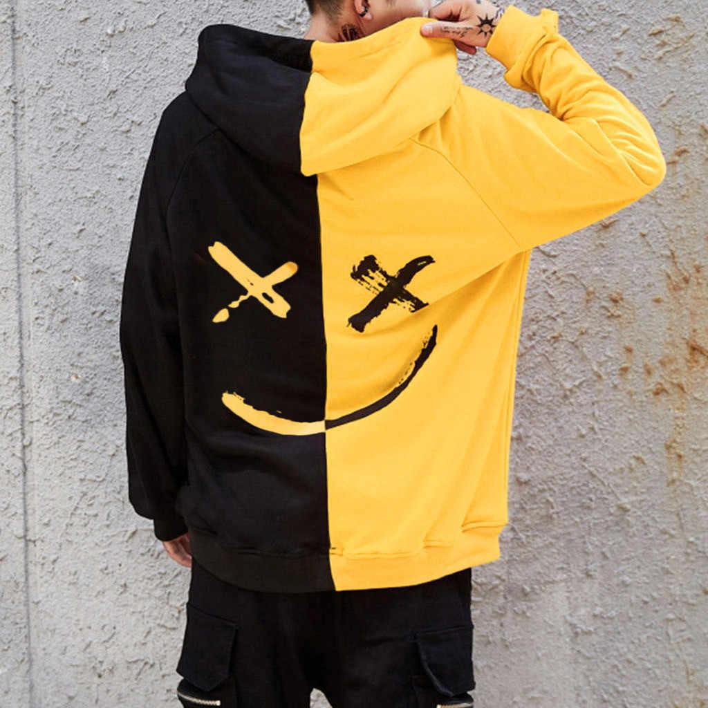 Heren Truien Sweatshirt Gelukkig Lachend Gezicht Print Mens Patchwork Hoodies Lange Mouw Hoodie Jumper Sweatshirts Mannen