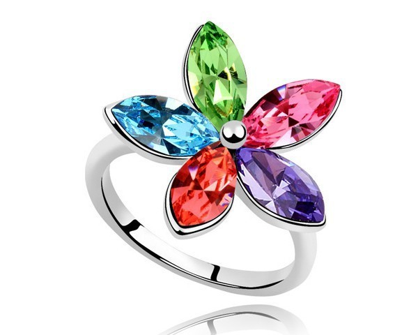 Flower Girl Jewelry Rings Austrian Crystal Valentine Jewelry For Lovers White Gold Plated Jewellery Fashion Large Rings RJZ0007