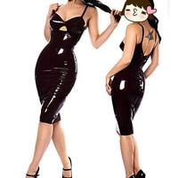 Shiny Sexy Catwomen Party Fancy Dress COSTUME Wet Look Black PVC Clubwear faux Leather Dresses Sexy Strap bodycon dress
