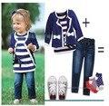 Девушки из трех частей, детские костюмы, куртки и брюки, футболки, дети костюм, высокое качество девушки костюм
