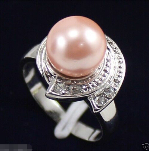 Pink South Sea Shell Pearl White Gold Plated Crystal Ring Size 6.7.8.9