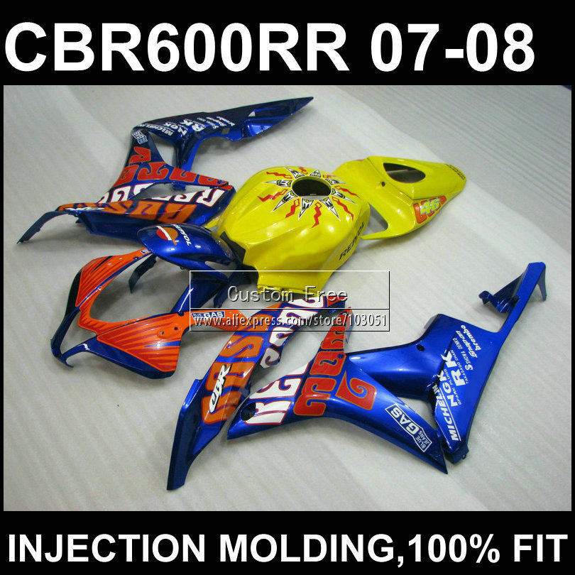 Yellow blue ABS Injection mold bodyworks for HONDA F5 CBR 600 RR fairings 2007 2008 cbr600rr 07 08 bodykits+7Gifts