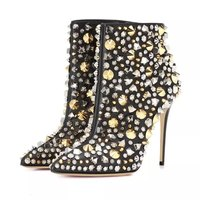 Spikes Super High Heels 10 cm Ankle Boots For Women Ladies Shoes Fashion Rivets Bling Sequins Shiny Studded Short Boots