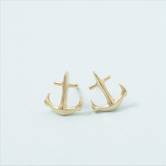 Whole 30 Pairs Fashion Tiny Anchor Stud Earrings Mix Color Casual Style Earing Jewelry Free Shipping