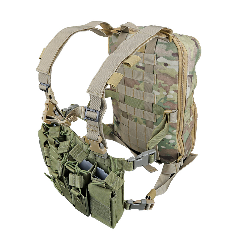 Tactifans D3 Chest Rig Plate Carrier Tactical Vest With Rifle M4 5.56 AK 7.62X39 Single Double Pistol Flapped GP Stuff Pouches