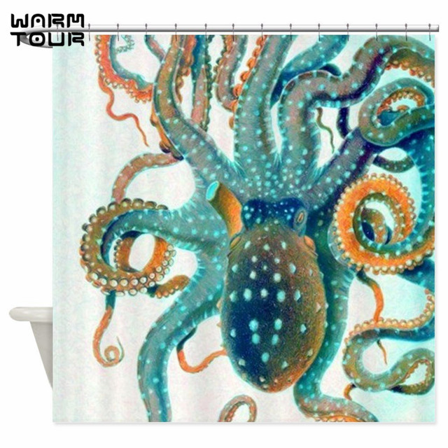 Warm Tour Colorful Teal Orange Octopus Decorative Fabric Shower Curtain Polyester Waterproof Bathroom WTC052