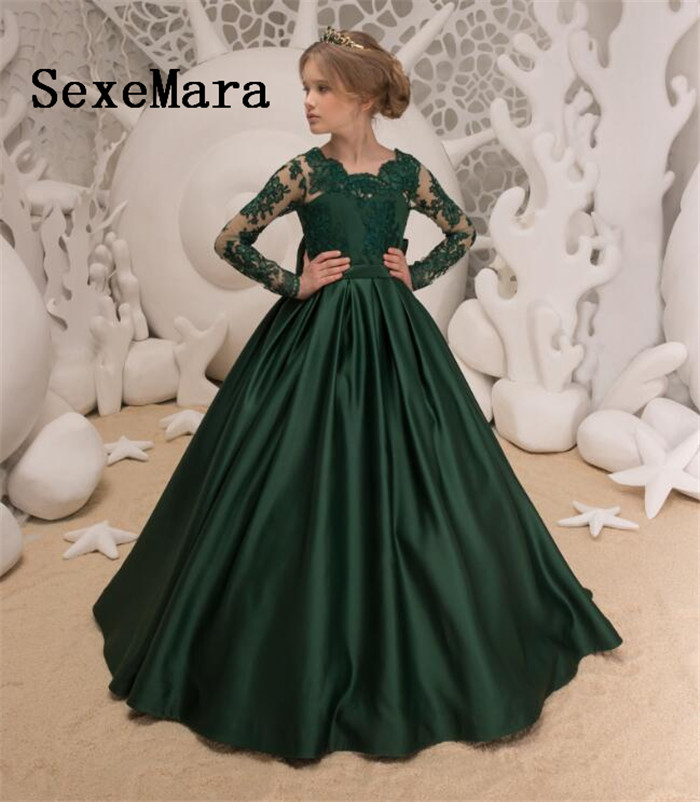 Flower Girls Dress For Wedding Deep Green Lace Appliques Long Sleeves Bow Sash Birthday Dress Pageant Gown Custom Made green stripe detail deep v neck long sleeves sweatshirt