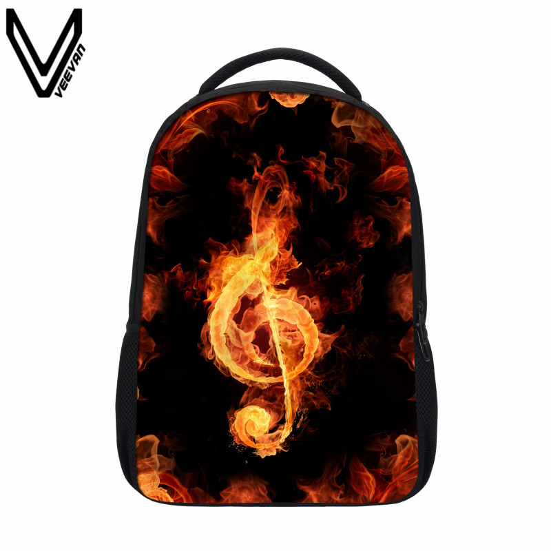 VEEVANV Flame Music Mark Children font b Backpacks b font Print School Book Bag For Teenagers