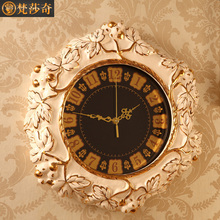 Luxury European style living room wall clock clock mute large ceramic quartz watch bedroom retro grape