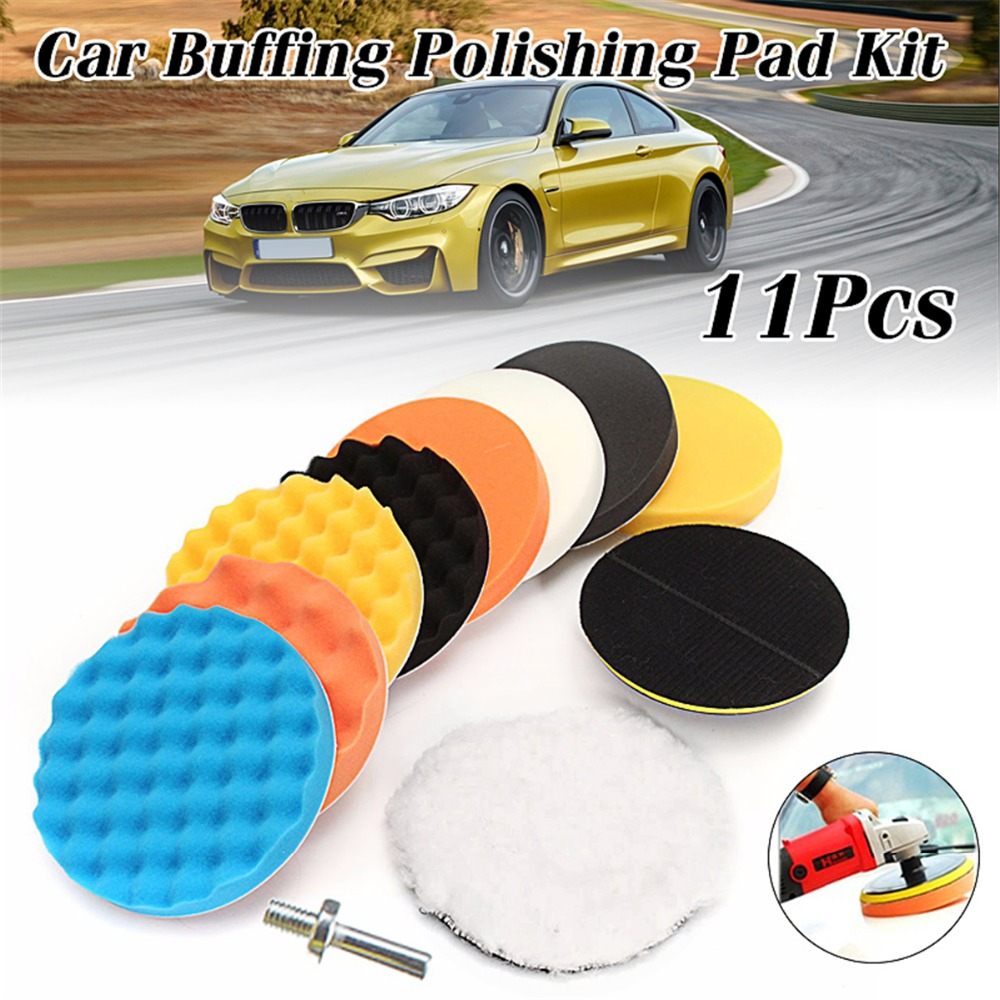11pcs 7 inch Polishing Waxing Buffing Sponge Pads Set + M14 Thread For Car Polisher стоимость