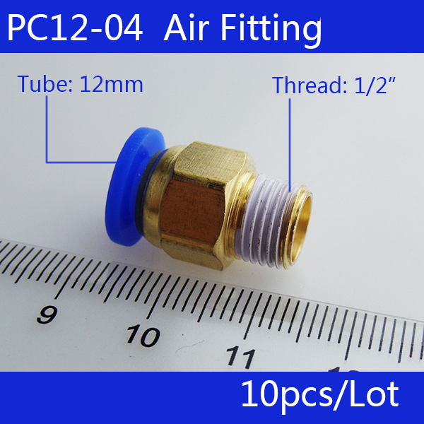Free shipping 10pcs 12mm to 1/2' Pneumatic Connectors male straight one-touch fittings BSPT PC12-04 5pcs lot pc12 02 12mm to 1 4 pneumatic connectors male straight one touch fittings bspt brand new