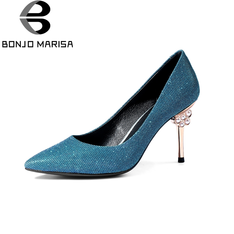 BONJOMARISA Large size33-43 Spring Sequined Cloth Leather Slip On Women Shoes Pearl Decoration Thin High Ladies Pumps