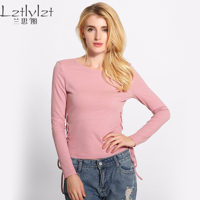 LZ 7Colors Women Knitted T Shirts 2 Side Lace Up Bandage Plus Size Bodycon Pullover Tops Long Sleeve Tee Shirt Women