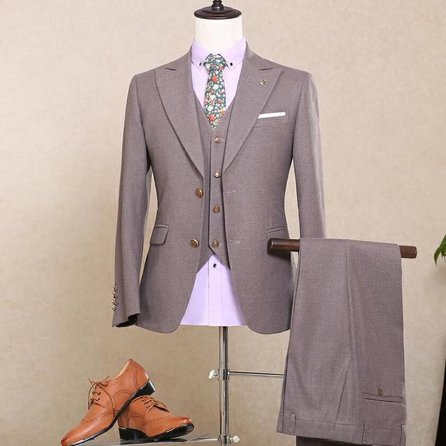 Пользовательские мужская Slim Fit Костюм Блейзер Серый Свадьба Жених Однобортный Бизнес Моды Смокинг Платье